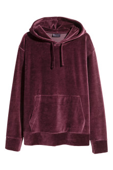 Velour hooded top